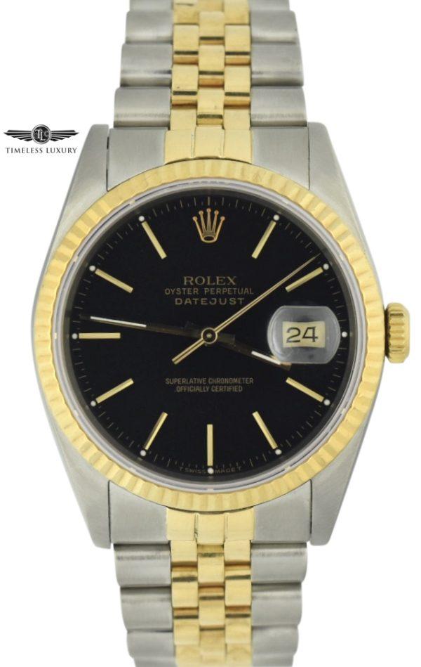1990 Rolex Datejust 36mm 16233 black dial for sale