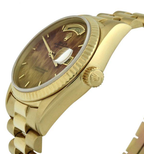 1987 rolex president 18038 wood dial watch