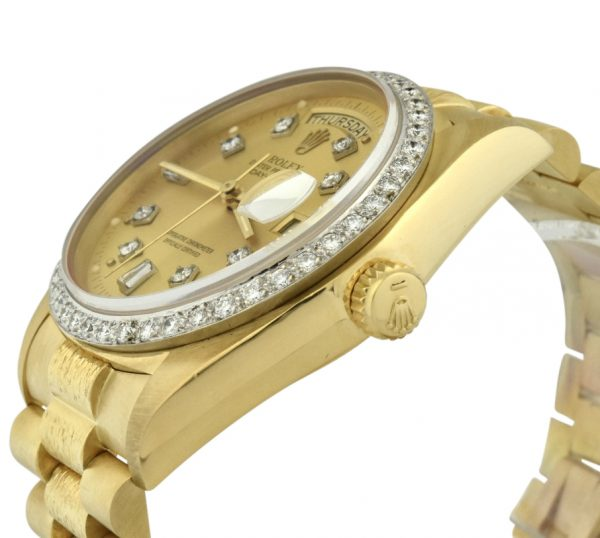 Rolex day-date president 36mm diamond bezel watch