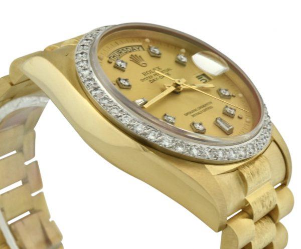 rolex president 18038 bark diamond bezel