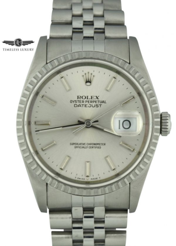 1990 Rolex datejust 16220 silver dial watch for sale