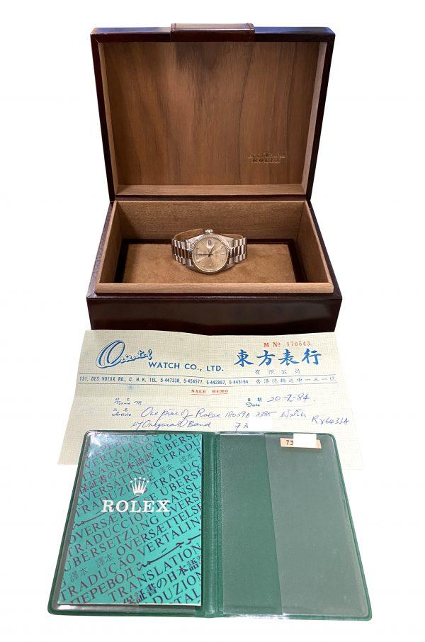 Men's Rolex President 18039 18k White Gold Diamond Dial for sale