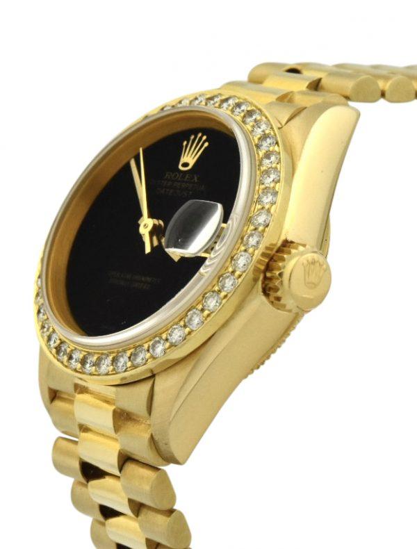 Ladies Rolex President 69178 Factory diamond bezel onyx dial