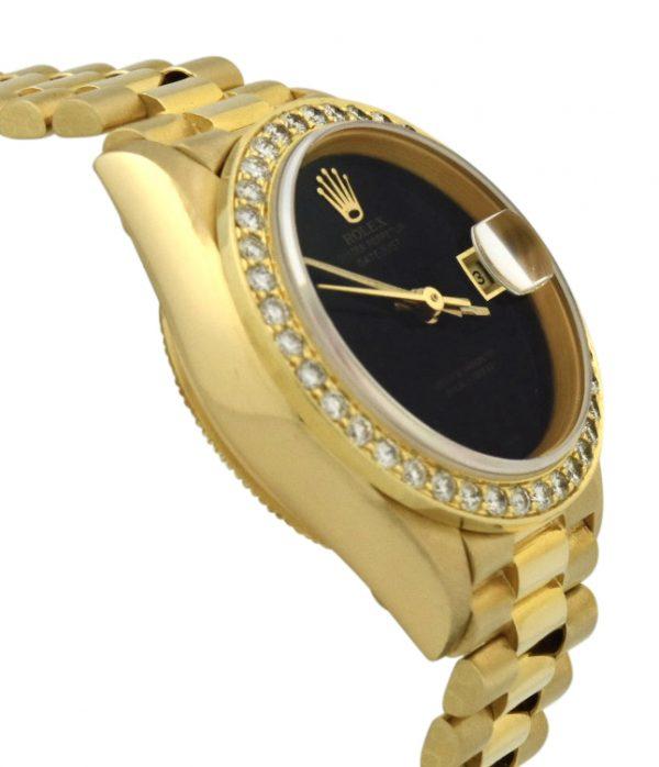 1990 Ladies Rolex President Black onyx dial factory diamond bezel
