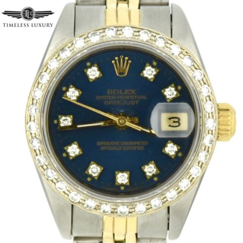 Ladies Rolex Datejust 69173 blue diamond dial