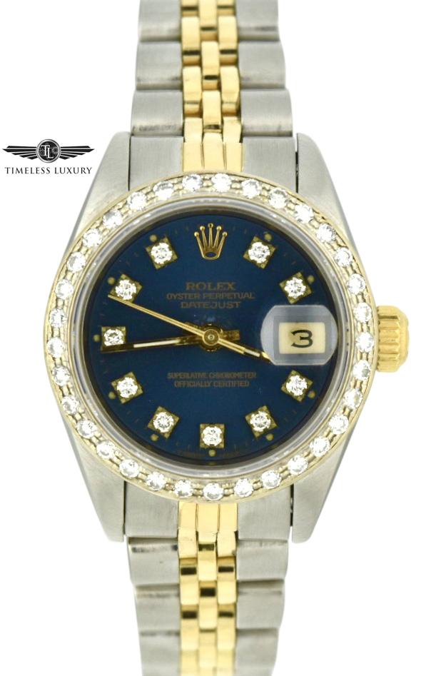 Ladies Rolex Datejust 69173 blue diamond dial