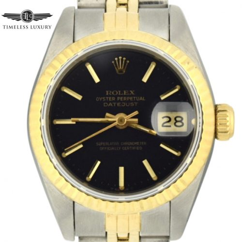 1990 Ladies Rolex Rolex Datejust 69173 black dial