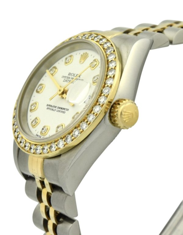 Lady rolex datejust 69173 white diamond dial