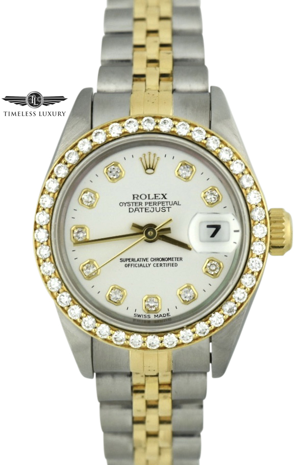 1993 Ladies Rolex Datejust 69173 white diamond dial