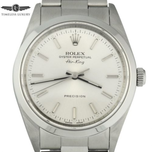 2001 Rolex Air-King 14000M Silver Dial 34mm
