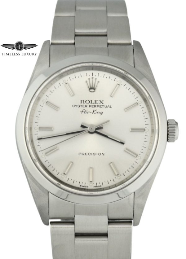 2001 Rolex Air-King 14000M Silver Dial 34mm