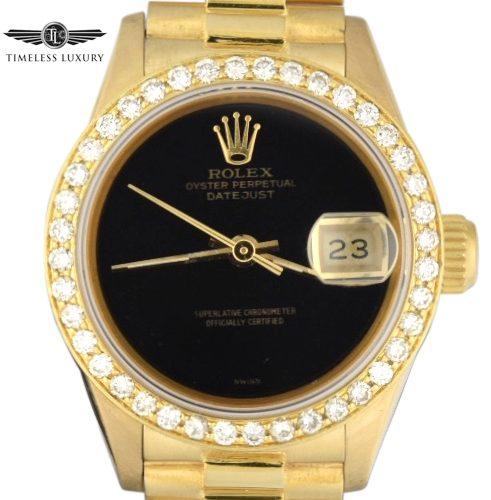 Ladies Rolex President 69178 Black Onyx Dial
