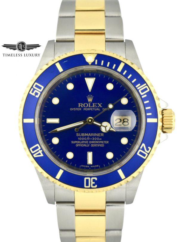 2007 Rolex Submariner 16613LB Rehaut Blue Dial