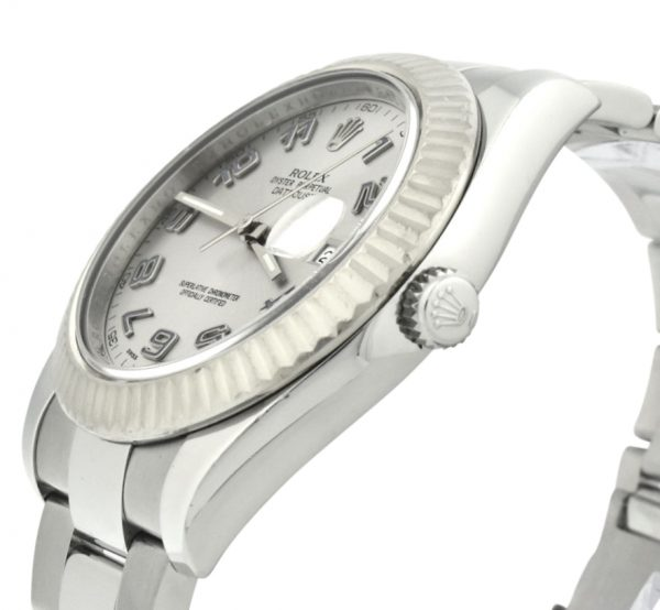 Rolex datejust II 116334 silver dial blue arabic numerals