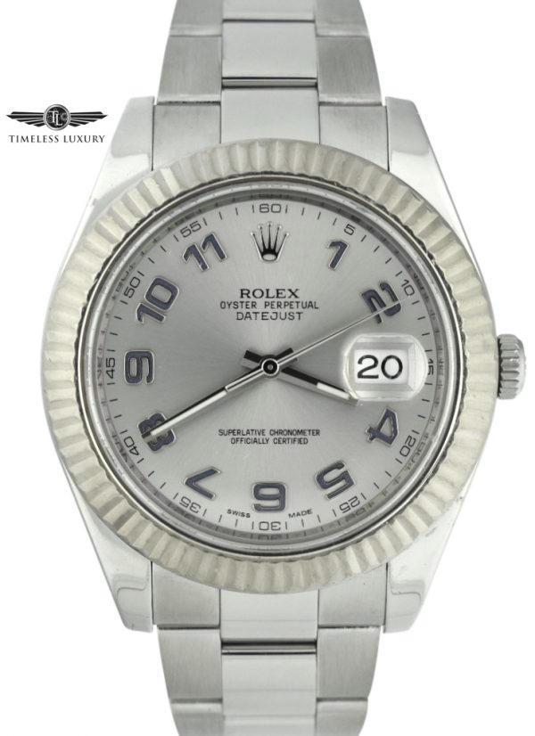 Men's Rolex Datejust II 41mm 116334 silver dial blue numbers