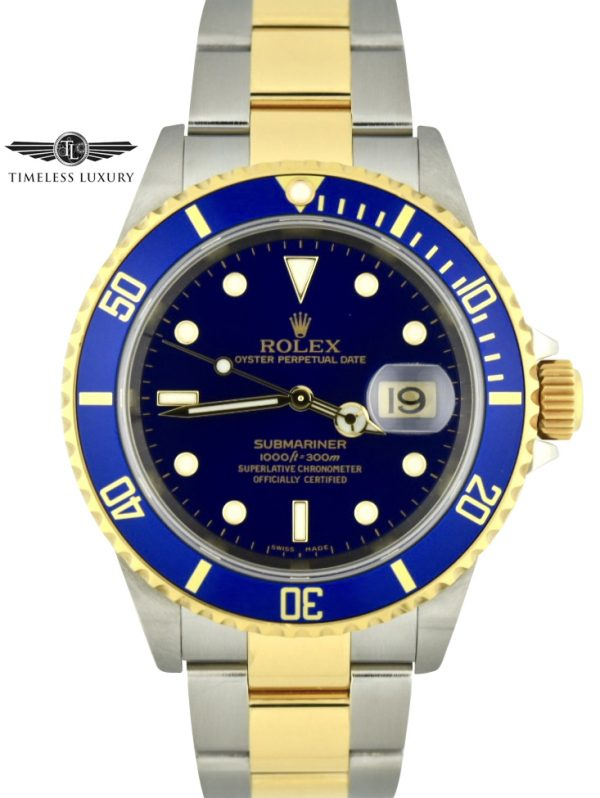2006 Rolex Submariner 16613 steel and gold blue dial new