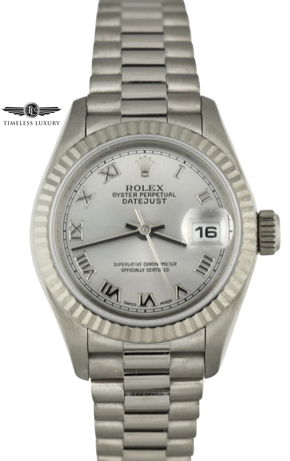 Ladies Rolex President 79179 White Gold Watch For sale