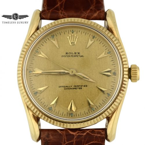 Vintage 1957 Rolex 6593 BomBay Lugs Gold watch