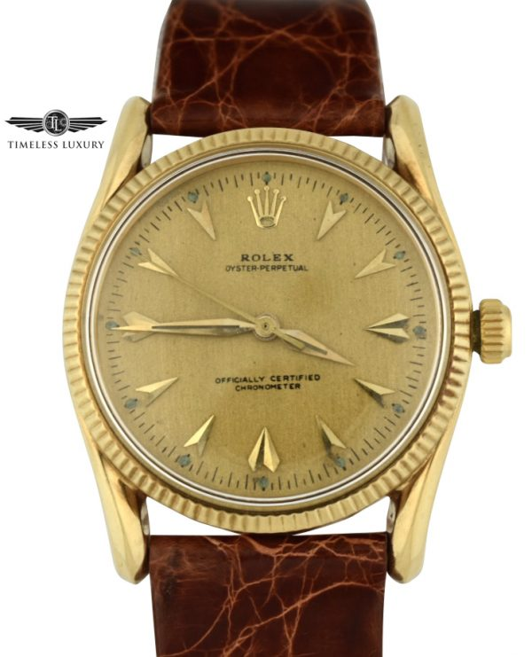 Vintage 1957 Rolex 6593 BomBay Lugs Gold watch