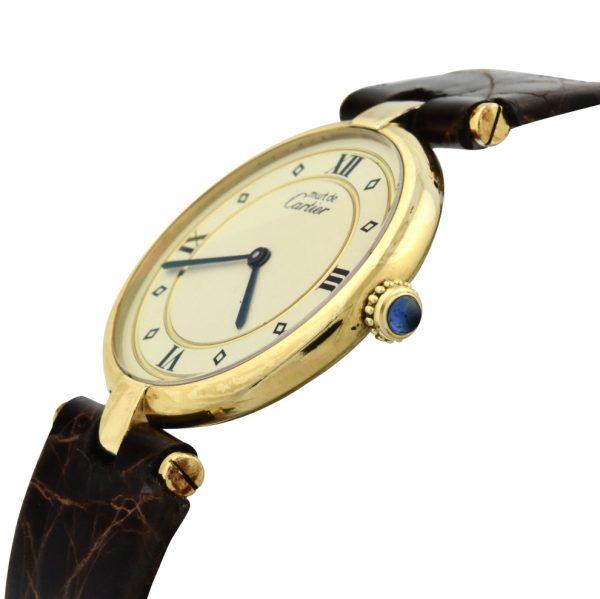 Cartier round gold vermeil watch 590003