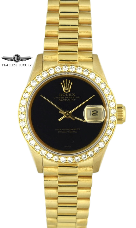 Ladies Rolex President 69178 Black dial diamond watch