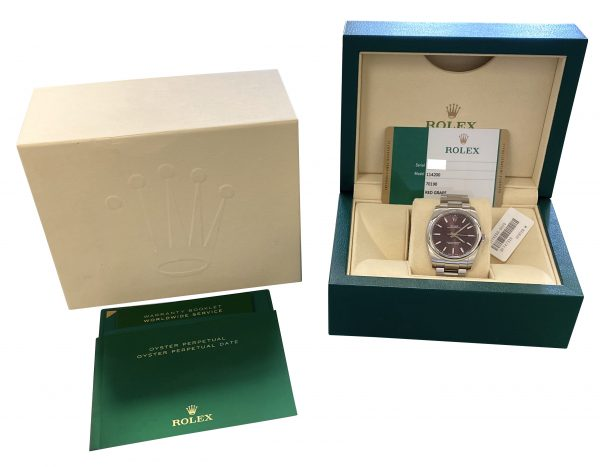 2019 Rolex Oyster Perpetual 114200 red grape for sale