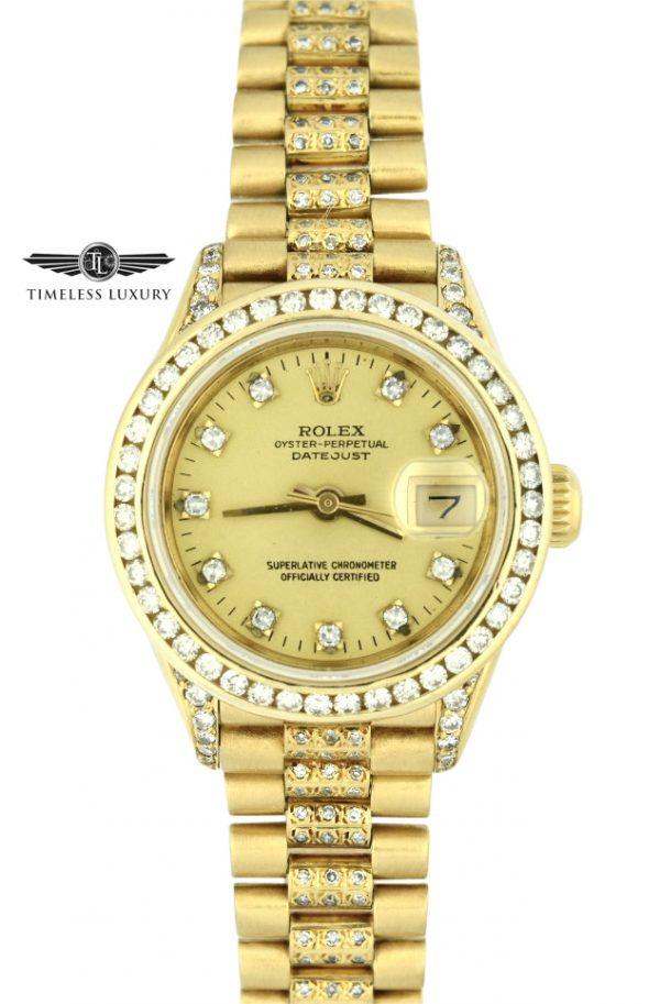 Ladies Rolex president 69178 diamond band watch