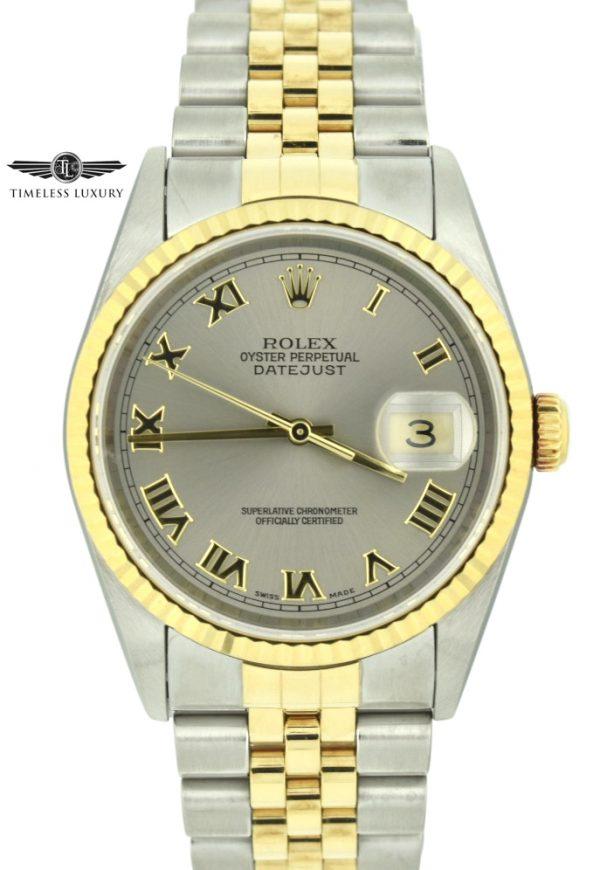 2002 Rolex datejust 16233 steel dial