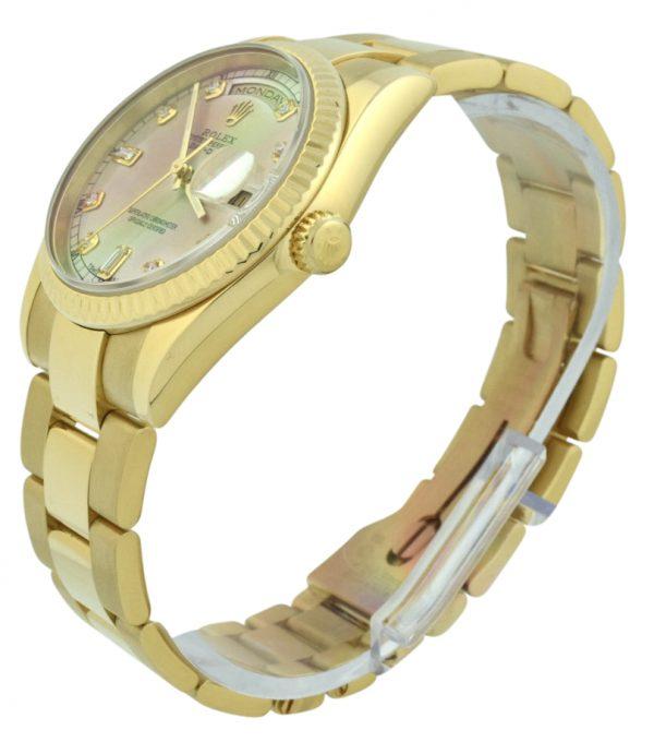 rolex president 118238 silver diamond dial