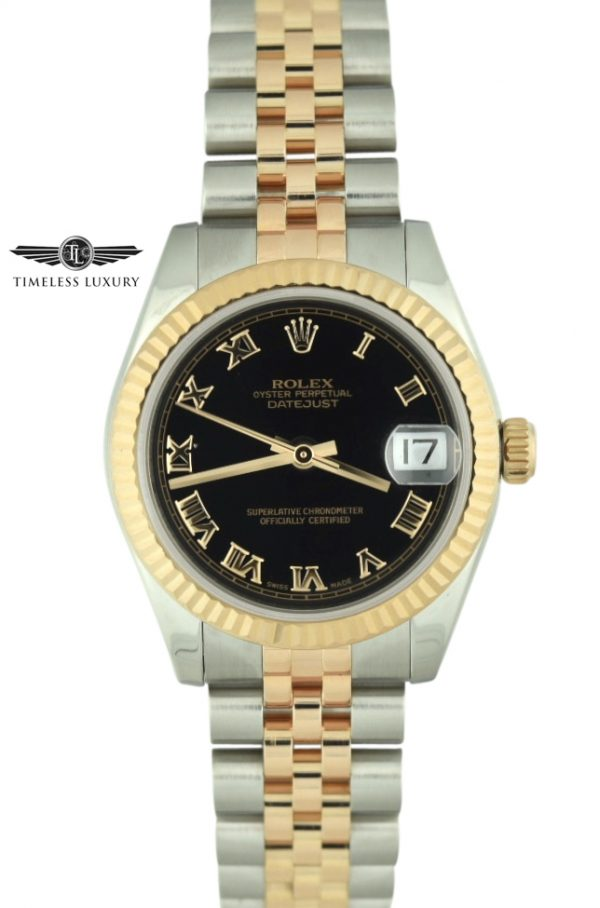 Ladies Rolex Datejust 31mm 178271 black roman dial