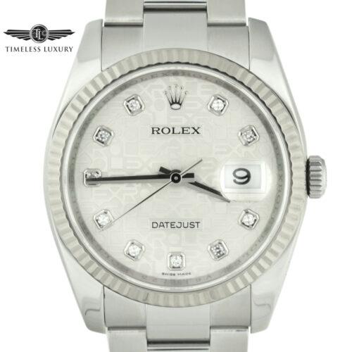 Rolex datejust 116234 silver diamond jubilee dial
