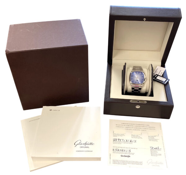 Glashutte original seventies panorama date 2-39-47-13-12-14 blue dial for sale