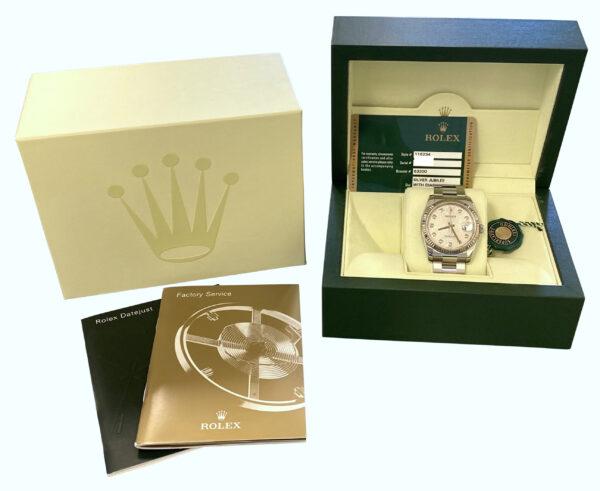 Men's Rolex datejust 116234 silver diamond dial watch