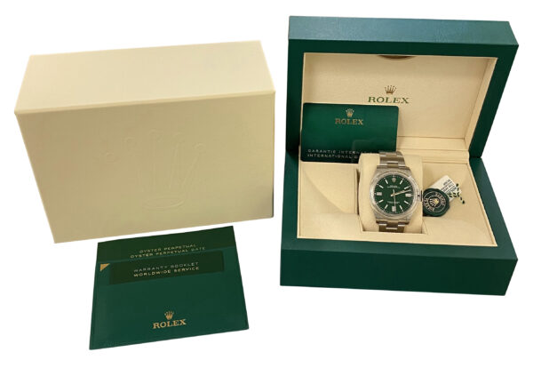 2020 Rolex Oyster Perpetual 41 124300 green dial for sale