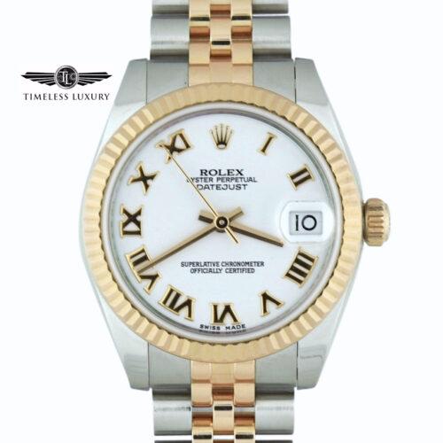 Ladies rolex 178271 steel & rose gold white dial