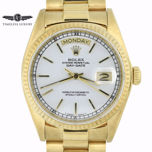 1980 Rolex Day-Date 18038 white dial