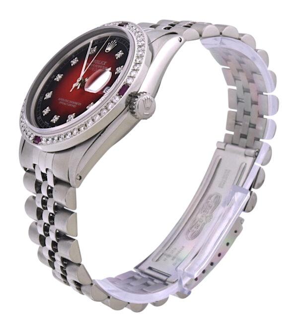 Rolex datejust 16014 diamond & ruby bezel