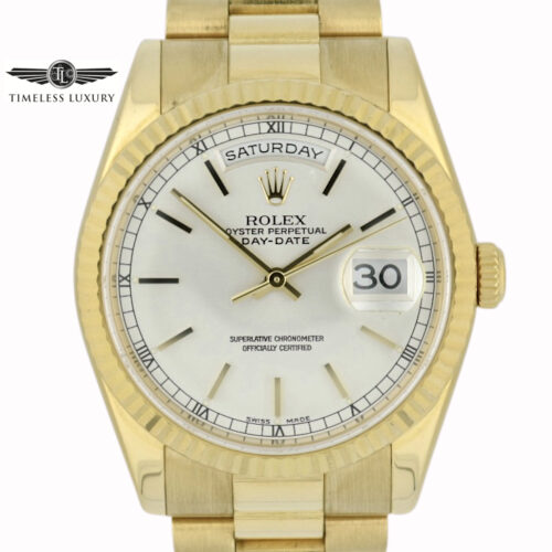 2005 Rolex President 118238 silver dial for sale