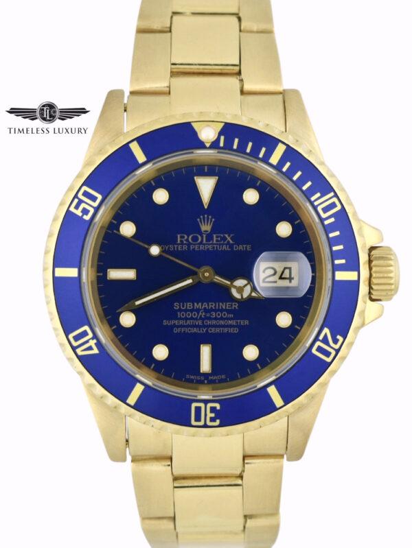 2000 Rolex Submariner 16618 Blue Dial