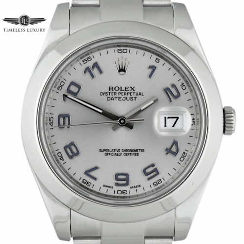 Rolex Datejust II 116300 silver dial blue numerals