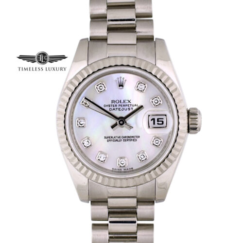 Ladies Rolex President 179179 pink mop diamond dial