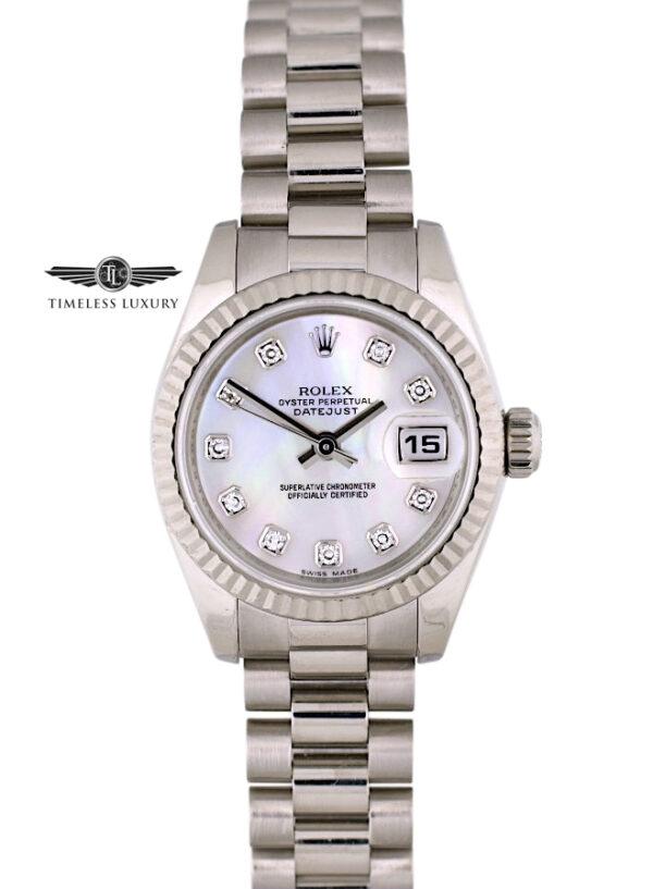 Ladies Rolex President 179179 pink mop diamond dial