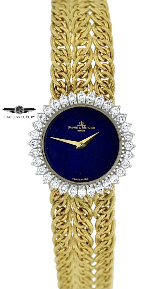 Ladies Baume & Mercier lapis lazuli dial gold watch