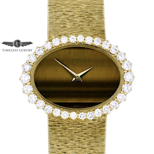 Ladies Piaget Tiger eye dial diamond watch 98311A6