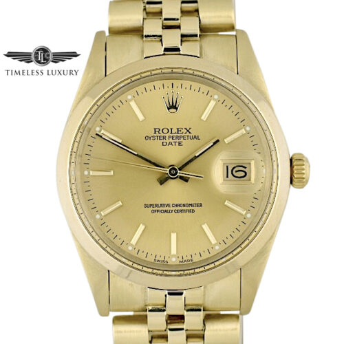 Rolex Oyster Perpetual Date 14k Gold 34mm 15007