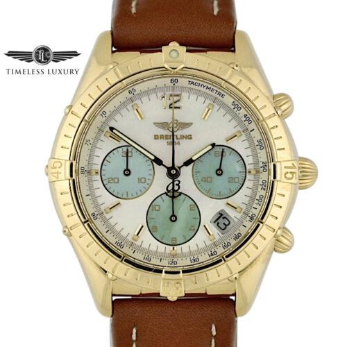 Breitling Chronomat K30012 18k Yellow Gold MOP Dial