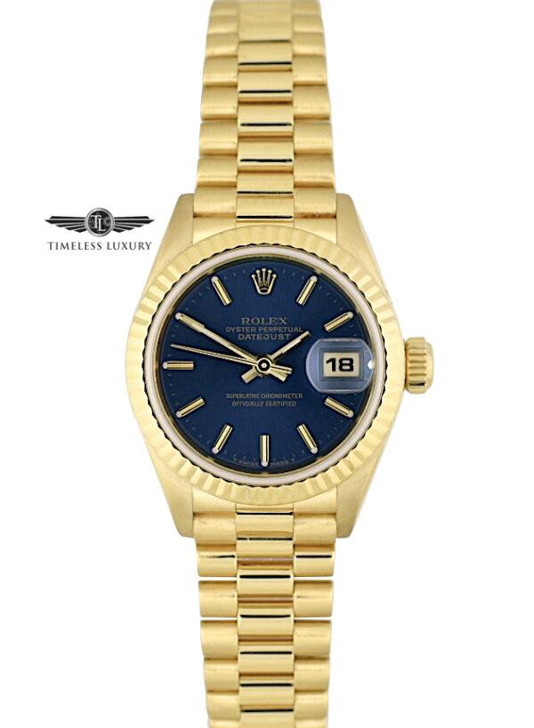 1988 Ladies Rolex President 69178 Blue dial