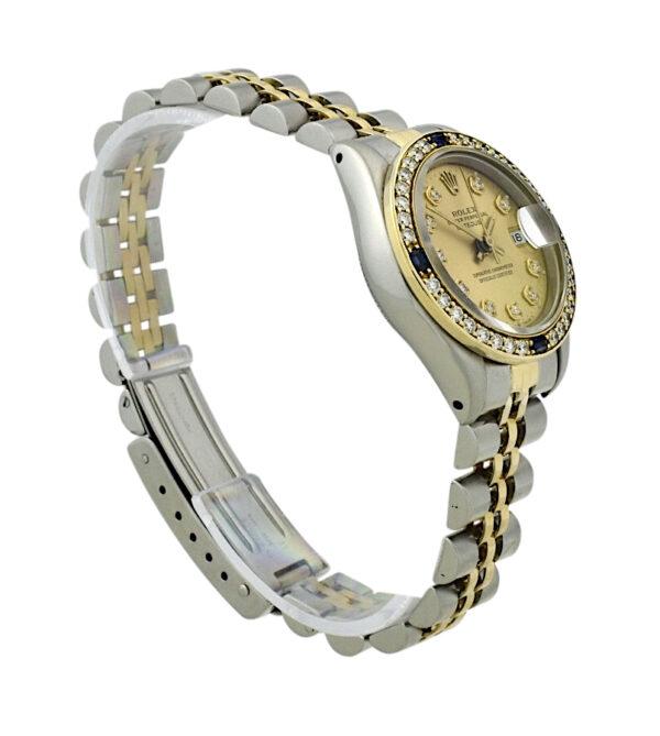 Ladies Rolex datejust 69173 diamond & sapphire bezel