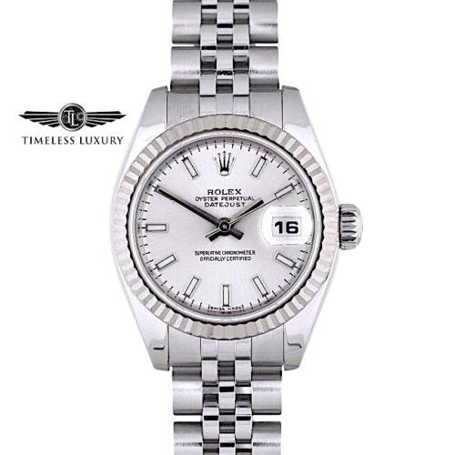 2005 Ladies Rolex Datejust 179174 silver dial 26mm