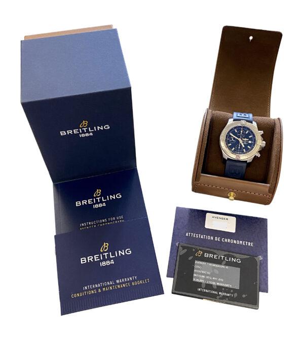 2019 Breitling Avenger Chronograph Blue dial A13317 FOR SALE